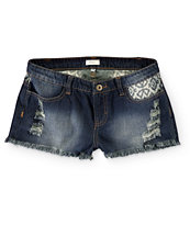 Trillium Tribal Pocket Dark Wash Denim Shorts