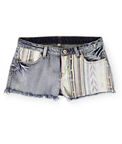 Trillium Tribal Print Piecing Medium Wash Denim Shorts
