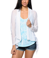 Trillium White Crochet Wrap Sweater