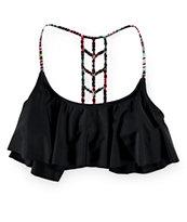 Trillium Woven Geo Macrame Flounce Bikini Top