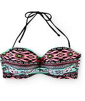 Trillium Woven Geo Molded Cup Bandeau Bikini Top