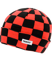 Trukfit Black & Red Checker Fold Beanie