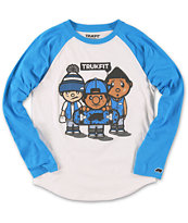 Trukfit Boys 3 Times Dope Blue & White Baseball Tee Shirt