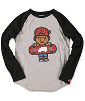 Trukfit Boys Tommy Black & Grey Baseball Tee Shirt