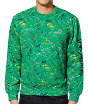 Trukfit D Splatter Green Crew Neck Sweatshirt
