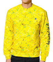 Trukfit D Splatter Yellow Crew Neck Sweatshirt