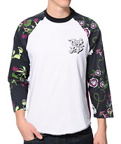 Trukfit Fly Trap White Raglan Baseball Tee Shirt