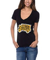 Trukfit Girls Cheetah Filled Truck Black V-Neck Tee Shirt