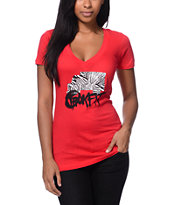 Trukfit Girls Foundation Red V-Neck Tee Shirt
