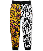 Trukfit Remixed Black, White & Leopard Print Sweatpants