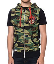 Trukfit Tommy Camo Raw Edge Sleeveless Zip Up Hoodie