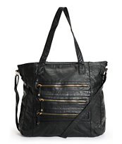 Under One Sky Black 3 Zipper Faux Leather Tote Bag