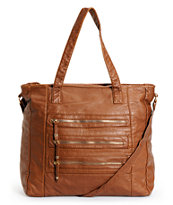 Under One Sky Cognac 3 Zipper Faux Leather Tote Bag
