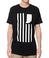 United State Of Indiana USI Flag Black Tee Shirt