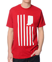 United State Of Indiana USI Flag Red Tee Shirt