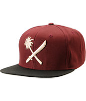 Us Versus Them Cross Cut Dark Red Snapback Hat