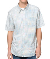 Valor Temple White Print Short Sleeve Button Up Shirt