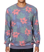 Valor Tropicali Blue Fleece Crew Neck Sweatshirt