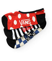 Vans 3 Pack Canoodle Checks And Spots No Show Socks