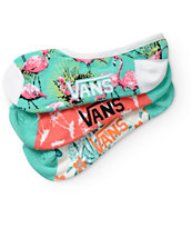 Vans 3 Pack Canoodle Flamingo No Show Socks