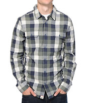 Vans Alameda Green & Blue Plaid Long Sleeve Flannel Shirt