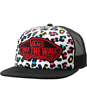 Vans Black & Colorful Leopard Print Trucker Hat