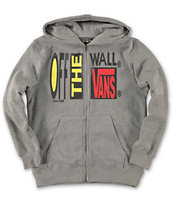 Vans Boys Caduhy Grey Zip Up Hoodie