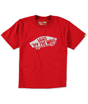 Vans Boys OTW Checker Fill Red Tee Shirt