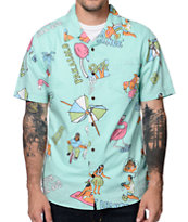 Vans Casual Friday Mint Short Sleeve Button Up Shirt