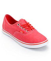Vans Girls Authentic Lo Pro Carmine Rose Red HB Print Shoe