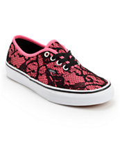 Vans Girls Authentic Neon Pink & Lace Shoe