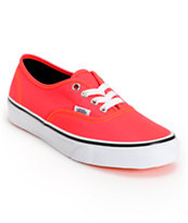 Vans Girls Authentic Neon Red & Orange Shoe