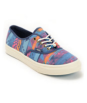 Vans Girls Authentic Slim Tribal Print & Marshmallow Blue Shoe