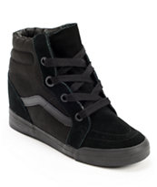 Vans Girls Sk8-Hi All Black Wedge Shoes