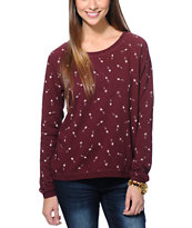 Vans Girls Stormy Arrows Dark Red Crew Neck Sweatshirt