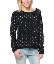 Vans Girls Stormy Lighting Bolts Black Crew Neck Sweatshirt