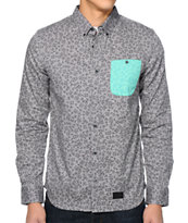 Vans OTW Newark Grey Print Long Sleeve Woven Shirt