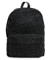 Vans Realm Black Cheetah Print Backpack