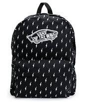 Vans Realm Black Lightning Bolt Print Backpack