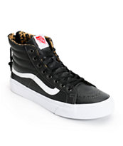Vans SK8 Hi Slim Black Leather & Leopard Zip Shoes