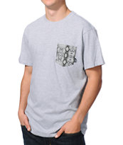 Vans Silver Snake Heather Grey Pocket Tee Shirt