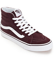 Vans Sk8 Hi Slim Iron Brown & White Shoes (Womens)