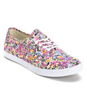 Vans Women's Authentic Lo Pro Violet & White Floral Print Shoe
