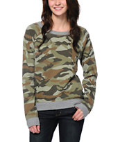 Vans Women's Deployment Camo Green Crew Neck Sweatshirt