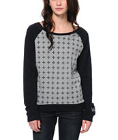 Vans Women's Double Crossed Black & Grey Crew Neck Sweatshirt