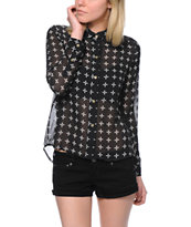 Vans Women's Effie Crosses Black Chiffon Button Up Shirt