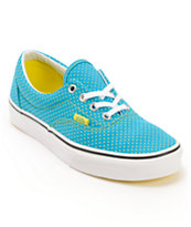 Vans Women's Era Enamel Blue & Yellow Polka Dot Shoe