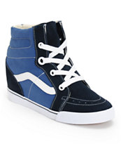 Vans Women's Sk8-Hi Navy & True White Wedge Shoes