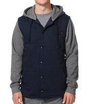 Volcom Barrett Navy & Grey Vest Hoodie