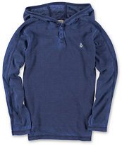 Volcom Boys Burnt Burnout Blue Long Sleeve Hooded Thermal Shirt